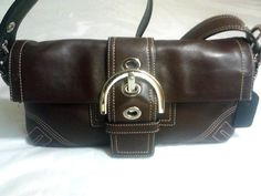 Coach 8A05 Clutch Brown Leather Handbag Bag Soho Flap Buckle #Coach #Handbag