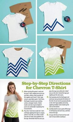 Chevron spray painted tshirt from Hobby Lobby.Simply Spray fabric paint I have a bunch of t shirts Diy Fashion, Ideias Fashion, Sewing Crafts, Sewing Projects, Diy Kleidung, Diy Vetement, Diy Mode, Techniques Couture, Refashioning