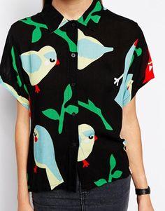 Enlarge Lazy Oaf Short Sleeved Shirt With Parrot Bird Print