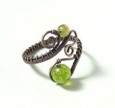 Olivine peridot copper ring green copper ring by VeraNasfaJewelry, $25.00