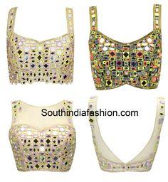 Mirror work blouse designs., neck designs, mirror work choli patterns