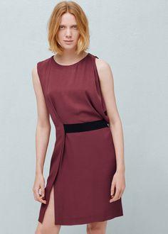 Contrast belt dress - Dresses for Woman | MANGO