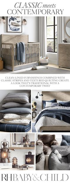 A mix of rich oak furnishings, relaxed bedding and vintage-inspired lighting create a bedroom that�s classic, yet comfortable. Shop this style at RH Baby & Child.