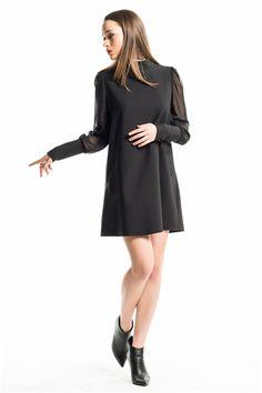 İroni Şifon Kollu Mini Siyah Elbise