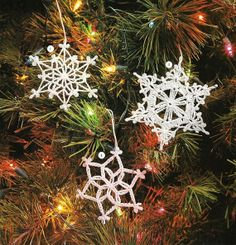 X216 Crochet PATTERN ONLY 6 Snowflake Pattern Christmas Ornaments