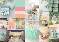 Peach mint bridal shower mood board created on www.sampleboard.com