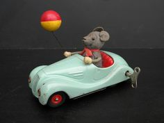 Original Old Schuco Sonny 2005 Tin Litho Mouse w Balloon in BMW Wind Up Toy