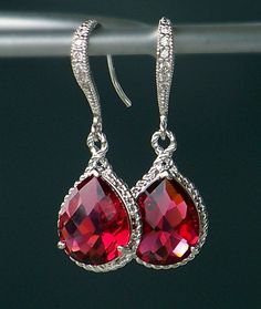 Ruby Red Teardrop Crystals Set in Silver on Crystal Detailed French Earrings