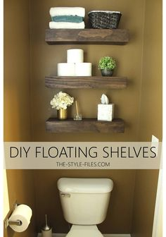 DIY Floating Bathroom Shelves / / Or A Creative Way to Store that TP… - The Style Files #CharminEssentials #IC #ad