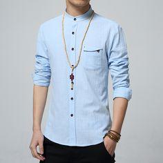 5XL Cotton Linen Men Shirt New 2016 Stand Collar Casual Male Shirt Slim Fit Mens Shirts Long-Sleeve Camisa Hombre MC250
