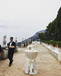 Umit and Serra cocktail reception at Belvedere Terrace #ravelloweddings #destinationwedding #villacimbrone #cocktailparty #amalficoastweddings #weddinginitaly