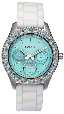 in love with this Fossil watch! New Fossil Women's Stella Aqua Face Teal Blue White Crystal Bezel Watch Bling Bling, Azul Tiffany, Tiffany Blue, Verde Tiffany, Tiffany Watches, Pierre Turquoise, Jewelry Accessories, Fashion Accessories, Teal Jewelry