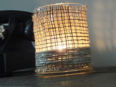 Hemp and Burlap Wrapped Candle Holder