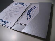 Silver and Teal Wedding Invitation - Paper goods by Le Petit Papier - www.lepetitpapierbymonica.com