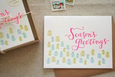Set of 6 - Season's Greetings Letterpress Card. $18.00, via Etsy.