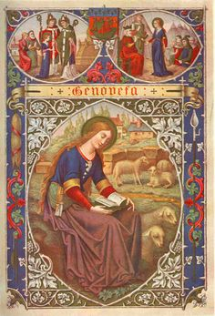 Saint Genevieve, Patron Saint of girls. She is also one of the Patron Saints of the City of Paris Catholic Art, Catholic Saints, Roman Catholic, Religious Art, Patron Saints, St Genevieve, Medieval, Lives Of The Saints, Vintage Holy Cards