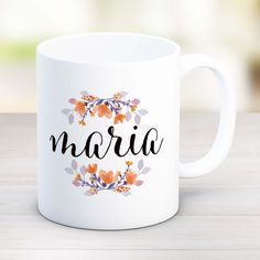 Gift for coworker, best friend gift, personalized name mug, floral mugs, assistant gift, office gift idea new job gift female coworker MU75 by artRuss on Etsy Personalised Name Mugs, Personalized Coffee Mugs, Personalized Gifts, Customized Gifts For Boyfriend, New Job Gift, Pretty Mugs, Neuer Job, Couple Mugs, Mug Art