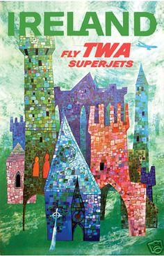 Ireland (Fly TWA Superjets) vintage travel poster