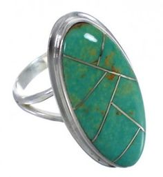 Authentic Sterling Silver Turquoise Ring Size 5-3/4 UX34217