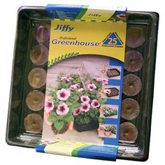 Growing plants is easy when you start with the Jiffy All In One Greenhouse . This tray includes 25 peat pellets, allowing you to start multiple plants. Indoor Greenhouse, Greenhouse Gardening, Indoor Gardening, Gardening Tips, Growing Herbs, Growing Vegetables, Garden Tool Storage, Garden Tools, Peat Moss