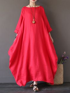 ZANZEA Women Casual Loose Pure Color Long Maxi Dresses - Banggood Mobile