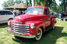 My dream truck. 1947 Chevy truck, white wall tires, fire engine red, wood rail, so pretty! Old Chevy Pickups, Chevy Pickup Trucks, Chevrolet Trucks, Chevy Trucks, Car Tv Shows, 1955 Chevy, Classy Cars, Fire Engine, Vintage Trucks