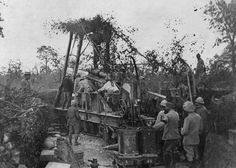 SOMME OFFENSIVE WESTERN FRONT 1916 (Q 80285)   240mm Howitzer in action at the Ravin d'Harbonniere, Somme. 29 September 1916.
