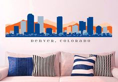 "NFL DENVER BRONCOS Skyline Wall Decal Colorado Art Vinyl Peel n Stick up to 70"" x 18"" College Dorm Office Business Decor City on Etsy, $29.99"