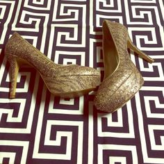 Glamorous, sparkly platform heels. Nine West platforms, worn twice. Super glamorous. Pictures don't do justice!  Nine West Shoes Platforms
