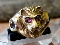 Rare Antique Georgian Gold Gilt Zoomorphic Signet Ring 'Lion Head' with Garnets and Amethysts  Circa: 1740 - 1780