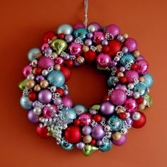 Make your own Holiday Ornament Wreath--it's simple, but beautiful. Shiny, too!