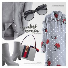 """""""Sweetest Occasion"""" by smartbuyglasses ❤ liked on Polyvore featuring McQ by Alexander McQueen, Gucci, red and gray"""