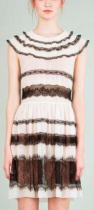 Black-Lace Panel Dress-White