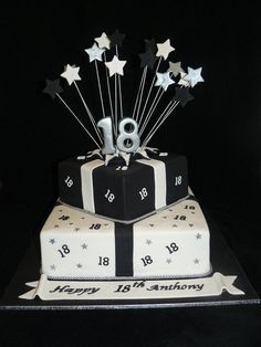 18th birthday cake - cake by Sue Ghabach - CakesDecor 18th Birthday Cake For Guys, White Birthday Cakes, Themed Birthday Cakes, Boy 18th Birthday Ideas, Teen Boy Birthday Cake, Happy Birthday, 18th Cake, Birthday Cake Decorating, Cakes For Boys