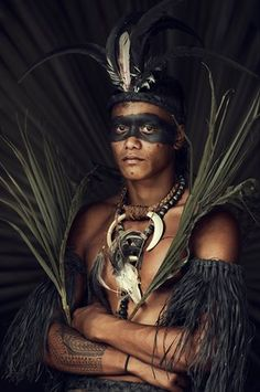 Marquesas Islands, French Polynesia. Having been fascinated by traditional body decoration for many years, it was no wonder Jimmy would end up photographing the Marquesan Islanders of northern French Polynesia. Beauty plays a big role in this culture: with black face paint, necklaces made of teeth and natural elements, the men and women all decorate themselves.