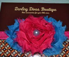 Aqua and Pink triple shabby flower  on Etsy, $10.00