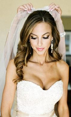 Bride's long down hair curls bridal hair Toni Kami Wedding Hairstyles ♥ ❷ Wedding hairstyle ideas Perfect makeup