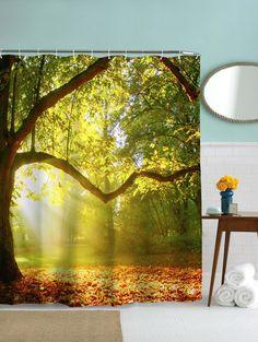 Waterproof Mouldproof Big Tree Pattern Shower Curtain - YELLOW/GREEN 180CM*180CM