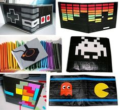 DIY: Duct Tape Wallet | Blog | GirlyBubble - duct tape wallets with all kinds of designs! Love the Tetris one!