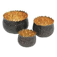 Bubble Brass Nesting Bowls Set of 3