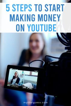 5 Steps to Make Money on YouTube - Learn how to make money on YouTube with these 5 steps and share your valuable, entertaining, or beneficial message with the world.    make extra money, make money online, make money with youtube, how to monetize youtube, side hustle, side gig, work from home via @mylifeiguess Making Money On Youtube, Youtube Money, You Youtube, Youtube Hacks, How To Make Money, Make Money Blogging, Make Money From Home, Youtube Sponsorship, Boss Babe Entrepreneur