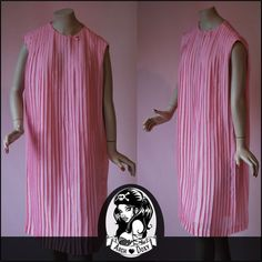 Vintage 1950s Sweet Pretty in Pink Pleated Trapeze Chiffon Cocktail Dress 14 -16