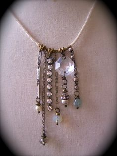 My Favorite Dangles Necklace in Cream by crdesigngallery on Etsy