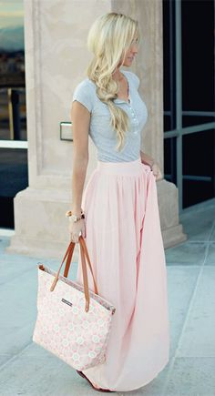 Love the colors on her outfit. I would love a pretty spring maxi skirt.