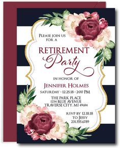 Floral Retirement Invitations featuring a navy background and marsala watercolor florals. Buy these classy invites for inviting family and friends to your party. Retirement Celebration, Retirement Parties, Retirement Ideas, Retirement Gifts, Retirement Invitation Card, Printable Invitations, Invites, Elephant Birthday, Gifts For Boss