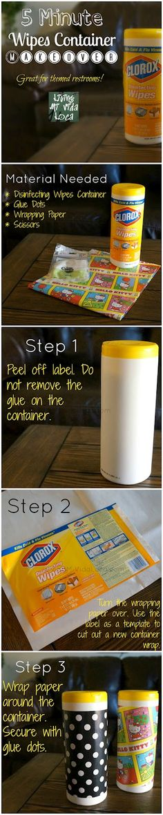 5 Minute Disinfecting Wipes Makeover #craft #easy #customize