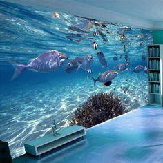 Custom Children's Room 3D Mural Wallpaper Stereoscopic Underwater World Of Marine Fish Living