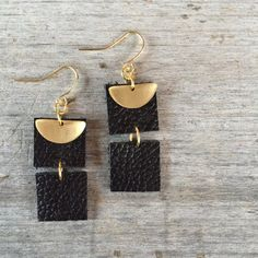 These leather drop earrings are 2 in length. Super lightweight and fun! Black leather accented with a brass half moon. They are real leather and come in Orange, Green, Purple, Black, Light and Dark Brown. - Choice of Gold Plated, Gold Fill or Brass Ear Wires - Genuine Leather - Brass