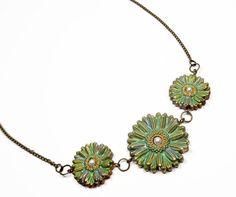 Flower Statement Necklace polymer clay jewelry by BeadazzleMe $19.00