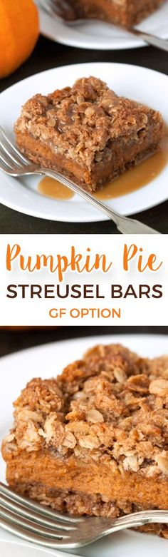 These gluten-free and 100% whole grain pumpkin pie bars are loaded with streusel and are a fun alternative to traditional pumpkin pie!